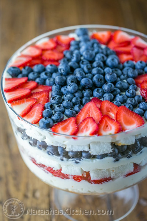 No bake patriotic blueberry trifle